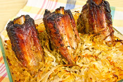 Spare ribs baked in sauerkraut Stock Photo