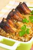 Spare ribs baked in sauerkraut Stock Photo