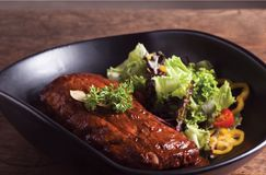 Spare Ribs Bar-B-Q. In saland & rastaurant from Chiangmai Thailand stock image
