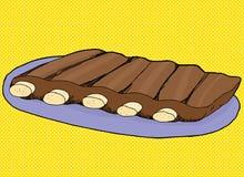 Spare Ribs on Blue Plate. Hand drawn illustration of pork spare ribs on blue plate Royalty Free Stock Photos