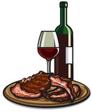 Spare ribs and red wine. Illustration of the spare ribs and red wine Stock Photography