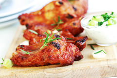 Spare ribs with sour cream stock image