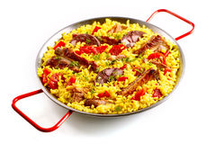 Spare ribs and Spanish rice in pan Royalty Free Stock Photo