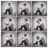 Spare time. Composition of portraits of the same young man doing various activities Stock Images