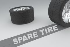 Spare Tire concept. Ual image of 3D rendered wheels with tires and sign over dark trace showing braking distances over grey background Stock Photo