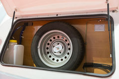 Spare tire. In a van rear stock photography