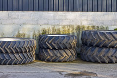 Spare tractor tyres. Spare tractor tires or wheels on the farm Royalty Free Stock Photography