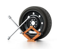Spare tyre, jack and wheel wrench  on white background. 3D illustration Royalty Free Stock Image