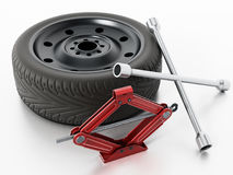 Spare tyre, jack and wheel wrench  on white background. 3D illustration Stock Photo