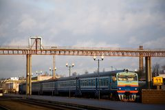 On a spare way. Typical passenger train in Russia and Belarus at station in the city of Mogilyov Royalty Free Stock Image