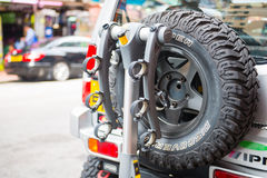 Spare wheel on back of a car Royalty Free Stock Image
