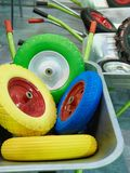 Spare wheels of garden wheelbarrows Royalty Free Stock Image