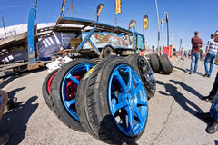 Spare wheels, rims and tires for drift. VOLGOGRAD - JUNE 6: Spare wheels, rims and tires at mobile tire drift team Round-X is available for viewing after the royalty free stock photo