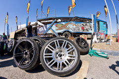 Spare wheels, rims and tires for drift. VOLGOGRAD - JUNE 6: Spare wheels, rims and tires at mobile tire drift team Round-X is available for viewing after the royalty free stock photography