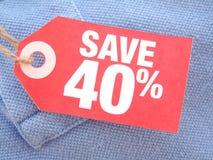 Sparen 40% Stock Foto's