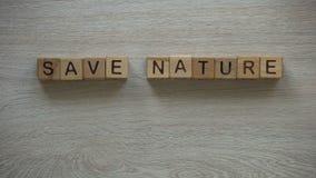 Sparen aard, vrouw die uitdrukking die van kubussen maken, installatie in handen houden, ontbossing stock footage