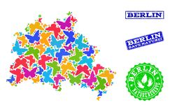 Sparen Aardcollage van Kaart van Berlin City met Vlinders en Gekraste Watermerken royalty-vrije illustratie