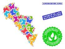 Sparen Aardsamenstelling van Kaart van het Eiland van Griekenland - Andros met Vlinders en Noodwatermerken stock illustratie