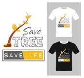 Sparen Boom bewaar het Levensconcept - Vector Grafisch, Boomkarakter, T-shirt grafisch ontwerp Royalty-vrije Stock Afbeelding