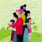 Sparen boom van de aard de menselijke holding tegen rijpe achtergrond, Ecolog stock illustratie