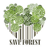 Sparen bosecologie groene prentbriefkaar Royalty-vrije Stock Foto