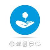Sparen bosteken De hand houdt boomsymbool Royalty-vrije Stock Fotografie