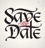 Sparen datumhand het van letters voorzien Stock Afbeeldingen