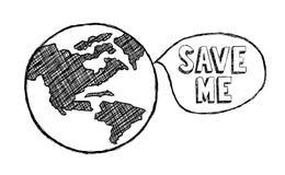 Sparen de Aarde, Klimaatverandering, Ecologie, Milieu stock illustratie