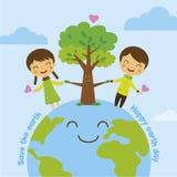 Sparen de aarde, sparen wereld Stock Fotografie