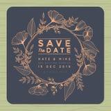 Sparen de datum, de kaart van de huwelijksuitnodiging met het malplaatje van de kroonbloem Bloem bloemenachtergrond stock illustratie