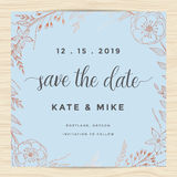Sparen de datum, de kaartmalplaatje van de huwelijksuitnodiging met de bloemkroon van de koperkleur Uitstekend ontwerp vector illustratie