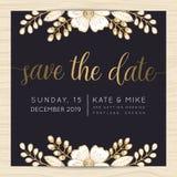 Sparen de datum, de kaartmalplaatje van de huwelijksuitnodiging met gouden bloem bloemenachtergrond royalty-vrije illustratie