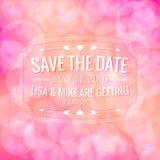Sparen de Datum De uitnodiging van het huwelijk Stock Afbeelding