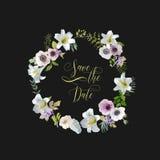 Sparen de Datum - Lelie en Anemone Flowers Card De uitnodiging van het huwelijk stock illustratie