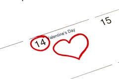 Sparen de datum op de kalender wordt geschreven - 14 Februari dat Stock Afbeeldingen