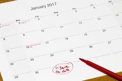 Sparen de Datum op een kalender wordt geschreven - 31 Januari dat Royalty-vrije Stock Foto