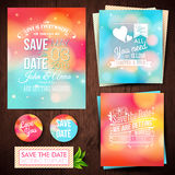 Sparen de datum voor persoonlijke vakantie Reeks van ca van de huwelijksuitnodiging Stock Afbeeldingen