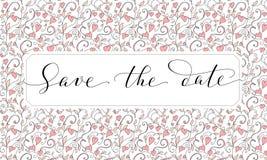 Sparen de datumkaart met de achtergrond van het hartenpatroon, uitnodigingsmalplaatje Hand geschreven douanekalligrafie royalty-vrije stock fotografie