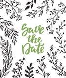Sparen de datumkaart met hand getrokken takkenbloemen en bladeren vector illustratie