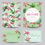 Sparen de datumkaart Tropische bloemen en bladeren De uitnodiging van het huwelijk royalty-vrije illustratie