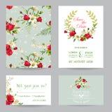 Sparen de de Uitnodiging of de Gelukwenskaartreeks van het Datumhuwelijk royalty-vrije illustratie