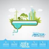 Sparen de het Beginbesparing van het Water Vectorconcept Royalty-vrije Stock Afbeelding