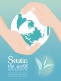 Sparen de het milieudag van de wereldwereld met handgreep om het bol vectorontwerp Stock Fotografie