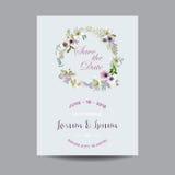 Sparen de kaart van het datumhuwelijk Lelie en Anemone Flowers royalty-vrije illustratie