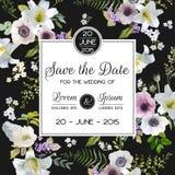 Sparen de kaart van het datumhuwelijk Lelie en Anemone Flowers stock illustratie