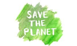 Sparen de planeetuitdrukking op waterverf groene organische achtergrond vector illustratie