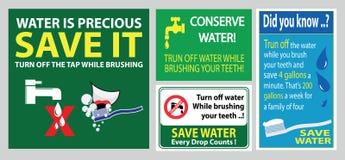 Sparen de tandenteken van de waterborstel stock illustratie
