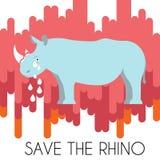 Sparen de vector de illustratieaffiche van het Rinocerosconcept Royalty-vrije Stock Foto's