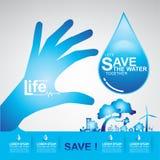 Sparen Ecologie van het Water de Vectorconcept Royalty-vrije Stock Foto