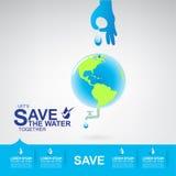 Sparen Ecologie van het Water de Vectorconcept Stock Afbeeldingen